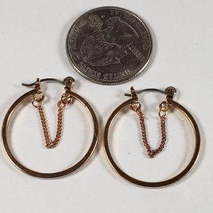 Women's Rose Gold Color Single hoop Earrings